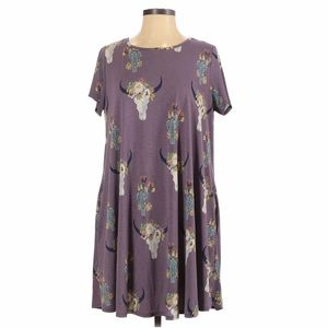 Filly Flare Boho Floral Bull Print Purple Dress S